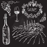 Vettore disegnato a mano fissato - vino e vinificazione Royalty Illustrazione gratis