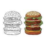 Vettore disegnato a mano hamburger enorme di colore ed in bianco e nero sul panino del sesamo isolato su fondo bianco royalty illustrazione gratis