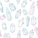 Vettore disegnato a mano Modello senza cuciture con i cristalli geometrici royalty illustrazione gratis