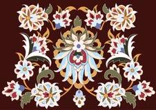 Vettore Disegno floreale su colore marrone Fotografia Stock
