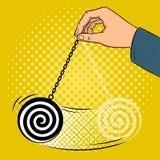 Vettore disponibile di Pop art del pendolo di Hypnotizer Immagini Stock Libere da Diritti