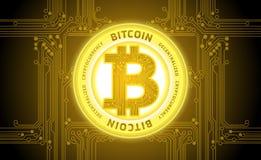 Vettore dorato del fondo dell'estratto di cryptocurrency del bitcoin Immagini Stock