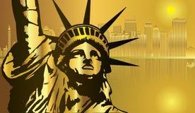 Vettore dorato della città New York e della statua della libertà Royalty Illustrazione gratis