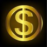 Vettore dorato della moneta del dollaro Fotografia Stock Libera da Diritti