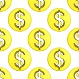 Vettore dorato delle mattonelle del modello di simbolo della moneta del dollaro Fotografia Stock Libera da Diritti