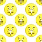 Vettore dorato delle mattonelle del modello di simbolo della moneta di Yen Fotografie Stock Libere da Diritti