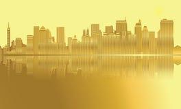 Vettore dorato di New York dell'orizzonte della città Royalty Illustrazione gratis