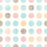 Vettore Dots Circles Seamless Pattern Background d'annata con struttura del tessuto Perfezioni per la scuola materna, il complean Fotografie Stock Libere da Diritti