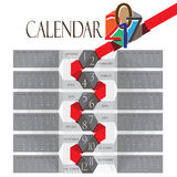 Vettore editabile del calendario 2017 Immagine Stock Libera da Diritti