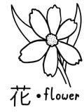 Vettore educativo giapponese di flashcard di kanji del fiore Fotografia Stock
