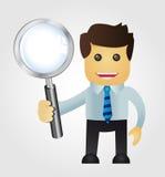 Uomo di affari con la lente d'ingrandimento Fotografia Stock Libera da Diritti