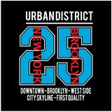 Vettore famoso della maglietta di tipografia del posto di New York Brooklyn illustrazione vettoriale