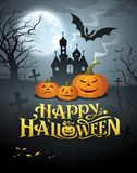 Vettore felice del messaggio della zucca di Halloween illustrazione vettoriale
