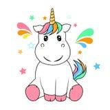 Vettore felice dell'unicorno su fondo bianco immagini stock libere da diritti