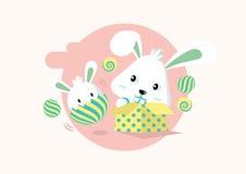 Vettore felice di celebrazione di giorno di Pasqua dei conigli pastelli svegli fotografia stock