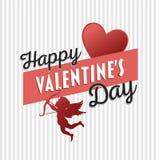 Vettore felice di giorno di biglietti di S. Valentino con il cupido Fotografia Stock Libera da Diritti