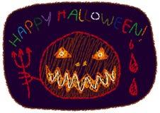 Vettore felice di stile del disegno del ` s dei bambini del ` di Halloween del ` Fotografia Stock