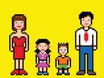 Vettore felice di stile del video gioco della famiglia di arte del pixel Immagini Stock Libere da Diritti