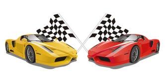 Vettore Ferrari Enzo con le bandiere come fondo Immagini Stock Libere da Diritti