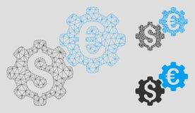 Vettore finanziario Mesh Network Model dei meccanici ed icona del mosaico del triangolo illustrazione di stock