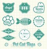 Vettore fissato: Animale domestico Cat Name Tags illustrazione di stock