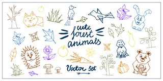 Vettore fissato con gli animali della foresta illustrazione di stock