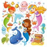 Vettore fissato con gli animali e le sirene royalty illustrazione gratis