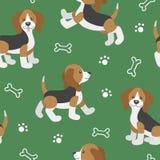 Vettore fissato con i cuccioli svegli del cane del fumetto Immagini Stock Libere da Diritti