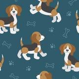 Vettore fissato con i cuccioli svegli del cane del fumetto Fotografia Stock