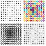 100 vettore fissato del paesaggio icone variabile Royalty Illustrazione gratis