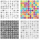 100 vettore fissato dell'alimento della via icone variabile Fotografie Stock Libere da Diritti