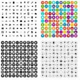 100 vettore fissato dell'ambiente icone marine variabile Fotografia Stock