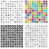 100 vettore fissato della neve icone variabile Fotografie Stock