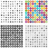 100 vettore fissato della scuola della pittura icone variabile illustrazione vettoriale