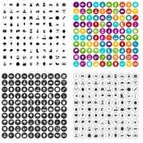 100 vettore fissato di agricoltura icone variabile Illustrazione Vettoriale