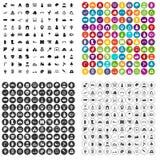 100 vettore fissato di asilo icone variabile Illustrazione Vettoriale