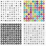 100 vettore fissato di istruzione prescolastica icone variabile Illustrazione di Stock