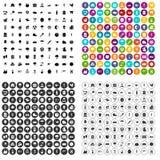 100 vettore fissato di operazione icone agricole variabile Illustrazione Vettoriale