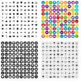 100 vettore fissato di ricchezza icone variabile illustrazione di stock