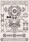 Vettore fissato: elementi calligrafici di disegno Immagini Stock Libere da Diritti