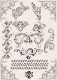 Vettore fissato: elementi calligrafici di disegno Fotografia Stock Libera da Diritti
