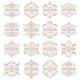 Vettore fissato - elementi calligrafici di progettazione Immagini Stock