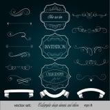 Vettore fissato: elementi di disegno e decorazione calligrafici della pagina Immagine Stock