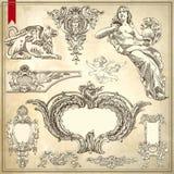 Vettore fissato: Elementi e pagina calligrafici di disegno Immagini Stock Libere da Diritti