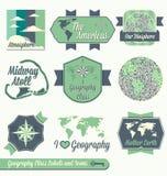 Vettore fissato: Etichette della classe di geografia Immagini Stock Libere da Diritti