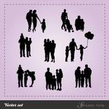 Vettore fissato - famiglia della siluetta Fotografie Stock Libere da Diritti
