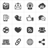 Vettore fissato icone d'avanguardia della rete sociale Fotografie Stock Libere da Diritti