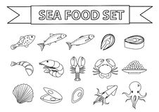 Vettore fissato icone dei frutti di mare Moderno, linea, stile di scarabocchio Raccolta dei frutti di mare isolata su fondo bianc illustrazione di stock