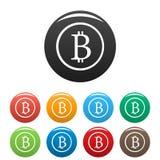 Vettore fissato icone del segno di Bitcoin Immagine Stock