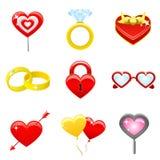 Vettore fissato icone di amore Immagine Stock